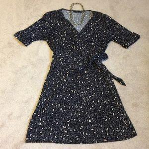 EUC Leopard Faux Wrap Dress
